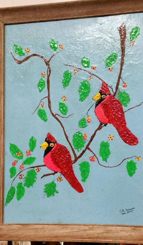 """Cardinals Buddies"" Oil Painting, CR Greene"