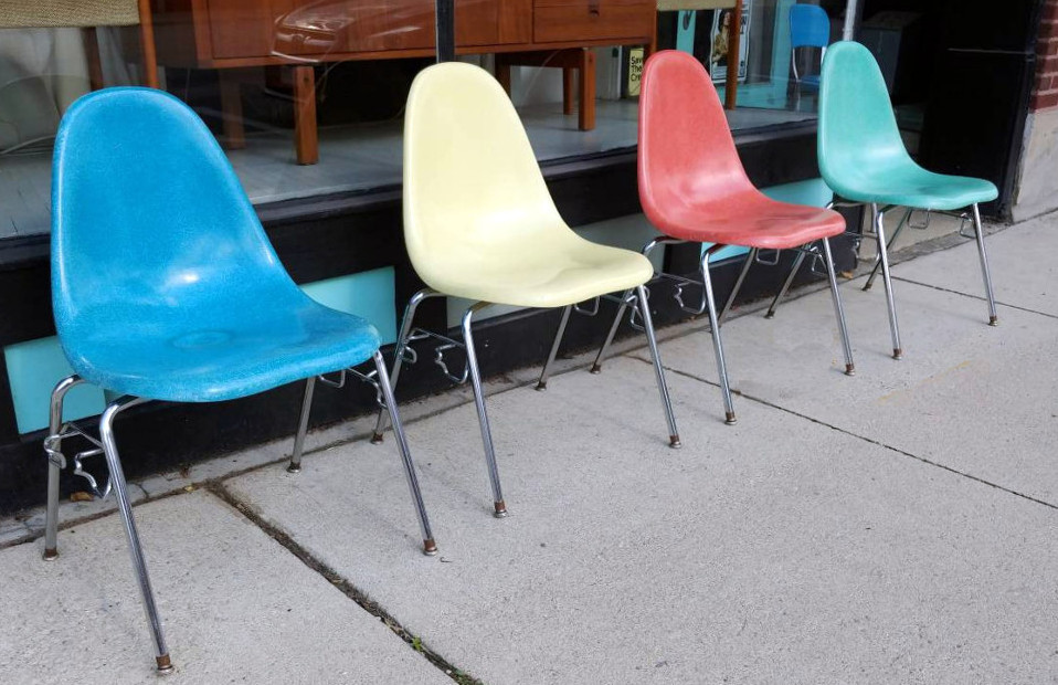 "Colorful MCM fiberglass ""Shell Chairs"" Eames-style SOLD"