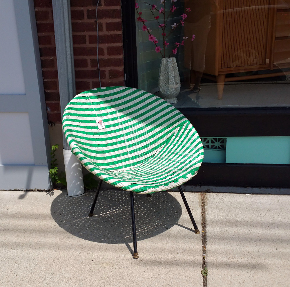 hoop chair: green & white vinyl on black metal frame