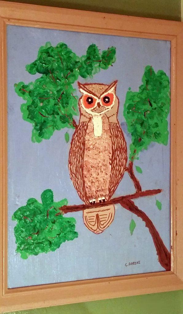 """Folk Artist CR Greene """"Owl on a Lonely Perch"""""""