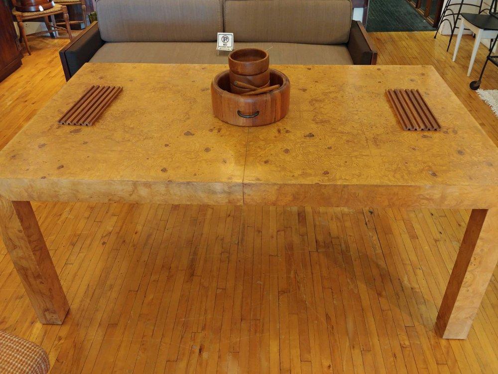 Milo Baughman burl olive wood Table: Game /Dining