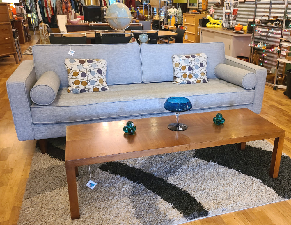 Mid Century Inspired Gray Contemporary Sofa