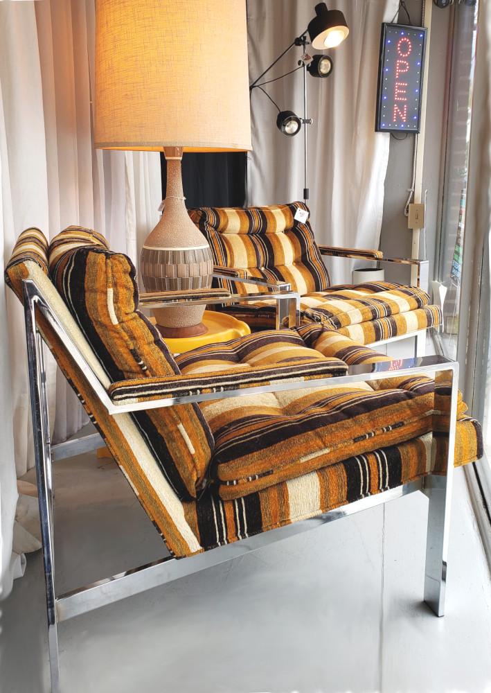 Pair Cy Mann Chrome Flat Bar Armchairs