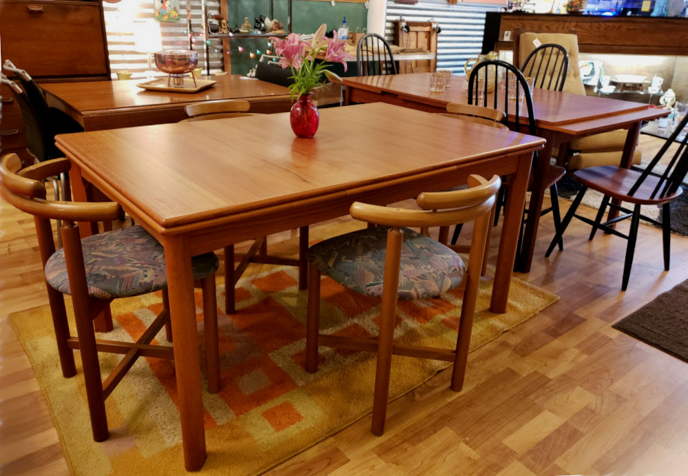Danish Modern Teak Dining Table with 4 Chairs