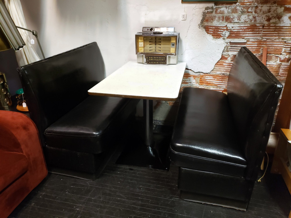 Vintage Classic Diner Booth with Atomic Table