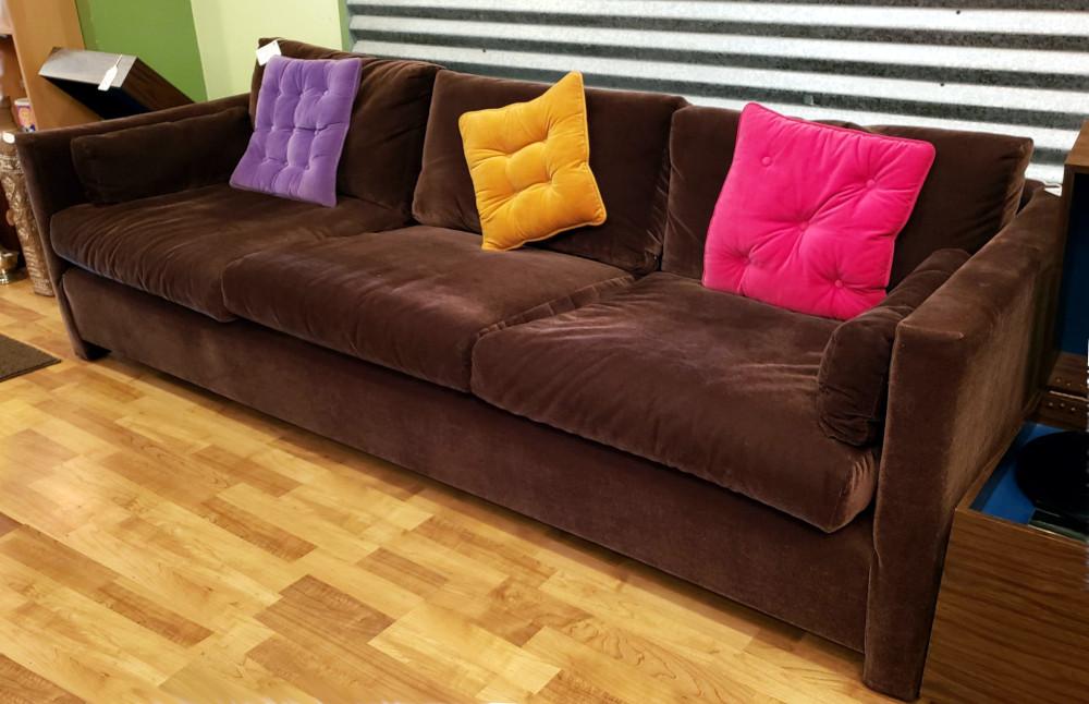 "Vintage low profile, Milo Baughman ""style"" Brown Sofa"