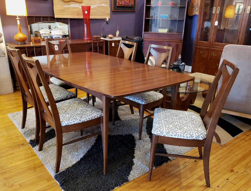 SOLD: Kent-Coffey 'Perspecta' Dining Table & Chairs and Credenza