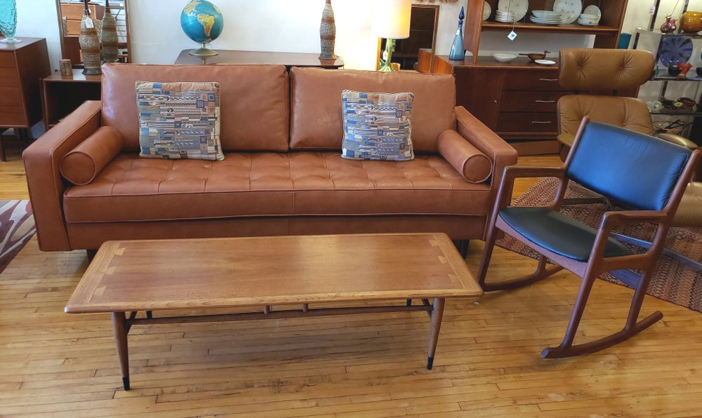 MCM Inspired New Leather Sofa, Benny Linden teak Rocker