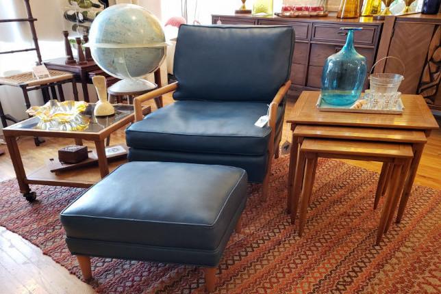 Vintage Blue Armchair with Ottoman MCM