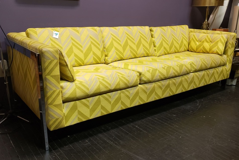 Great 6-cushion zig-zag MCM #SteelcaseStyleSofa