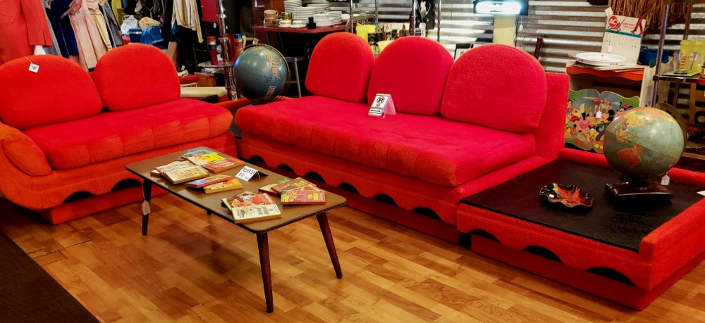 Vintage 60's Pearsall Sectional Sofa tables