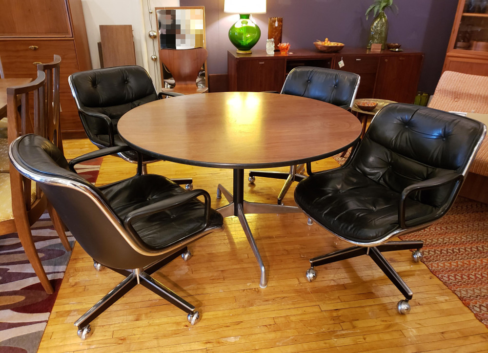 Charles Pollock KNOLL Chairs Herman Miller Aluminum Group Table