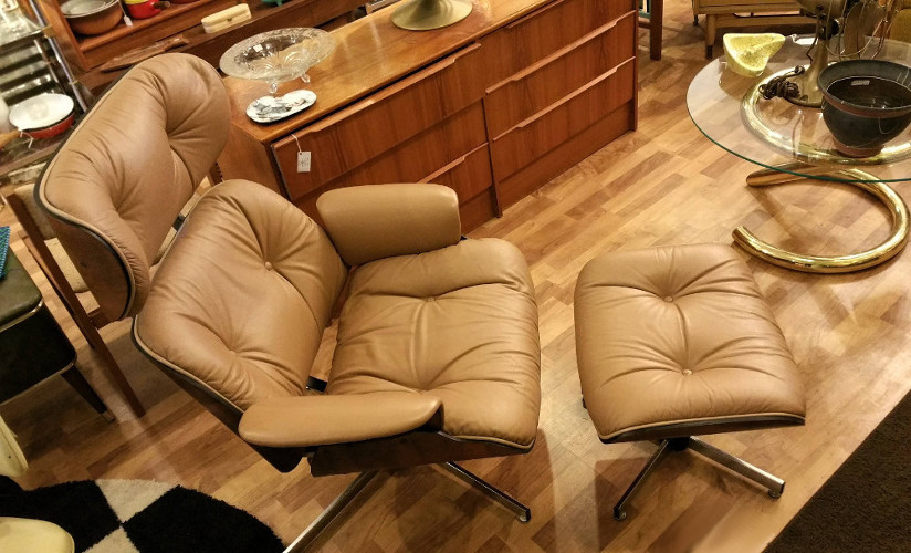 Eames-inspired Selig Lounger w/ottoman vintage