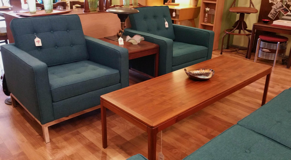 Retro Teal Armchairs, New: Knoll/LeCorbusier-style