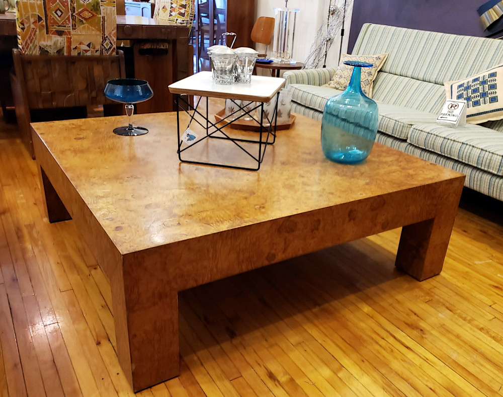 Monumental burlwood Coffee Parsons Cocktail Table