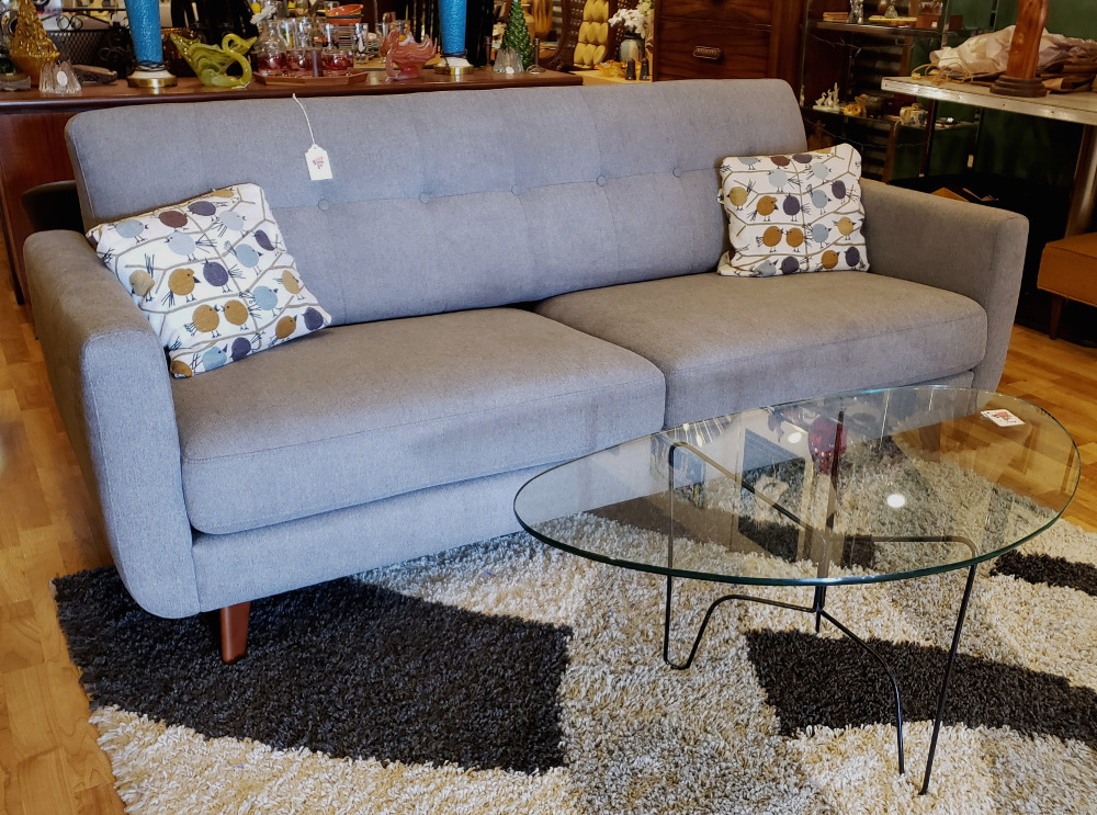 Contemporary Mod (Mid-Century Inspired) Gray upholstered Sofa