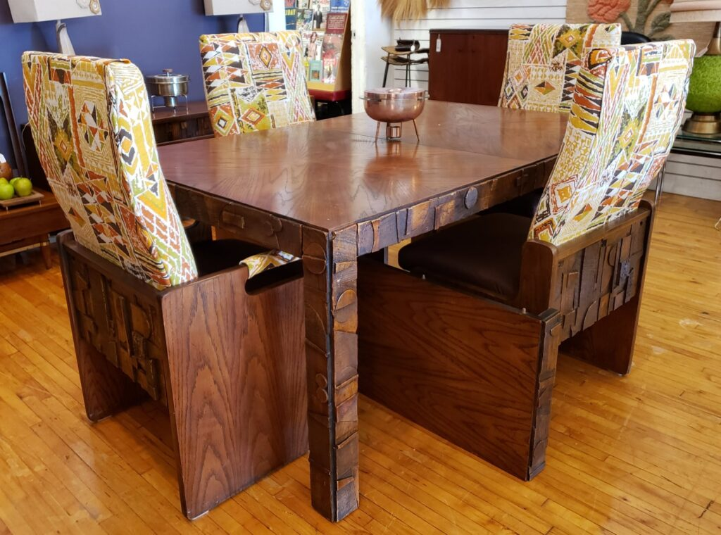 Lane Pueblo Dining Table and 4 Chairs MCM Brutalist Style
