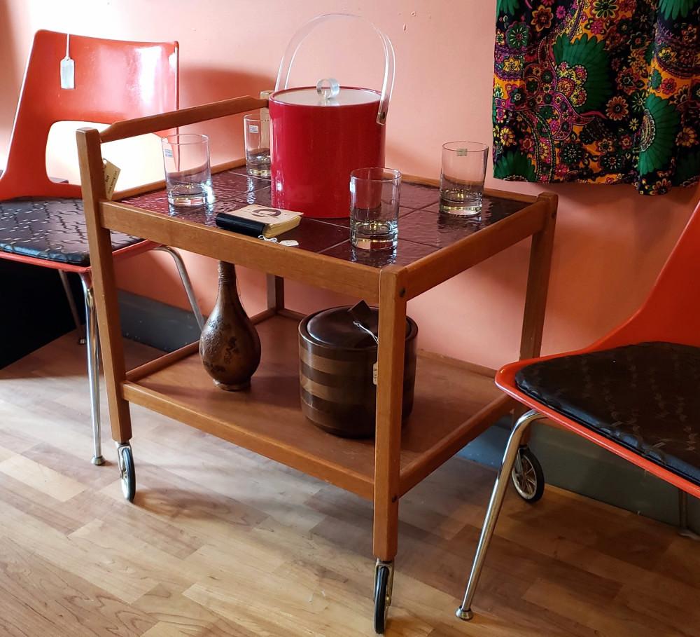 Vtg Teak Bar Cart, Ceramic Tile Top