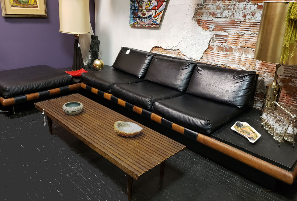 Vintage Adrian Pearsall Sectional Sofa built-in End Tables