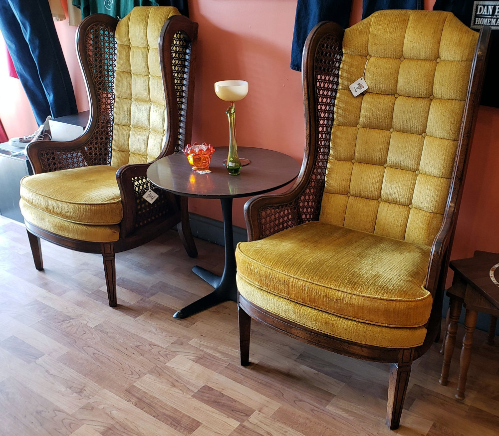 Tall-back #VintageWingbackChairs