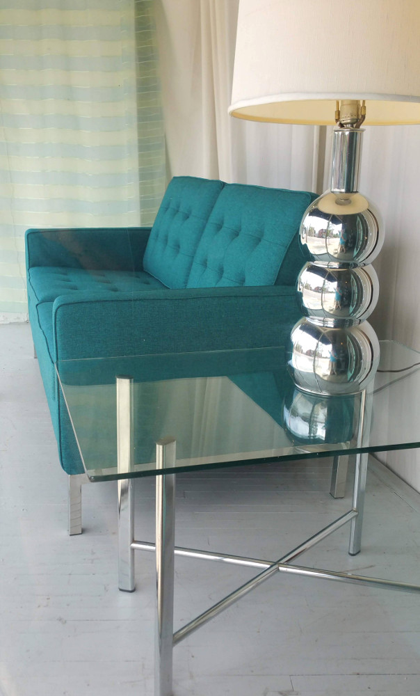 Retro Teal Love Seat, New: Knoll/Le Corbusier-style