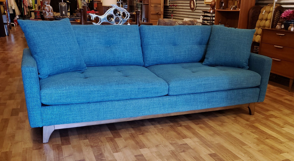 Newer Turquoise Mod Sofa w/ Splayed Legs: SOLD